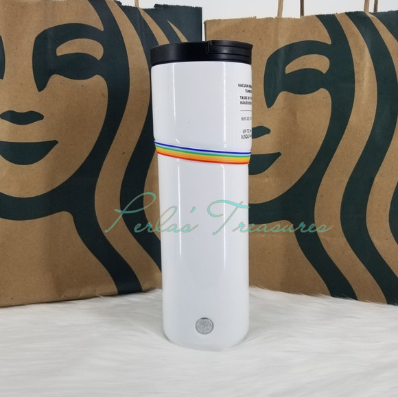 Starbucks White and Rainbow Band Hot Cold Stainless Steel Tumbler Pride 2020